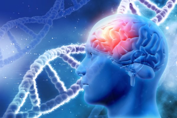 3D medical background with brain and DNA strands